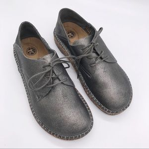 🆕 BIRKENSTOCK Gary Silver Lace Up Derby Shoes 37N